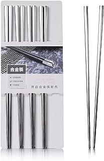 Leaptech altos palillos de metal de calidad de lujo Plaza de acero inoxidable palillos Hogar Hotel Restaurant Palillos (5pair)