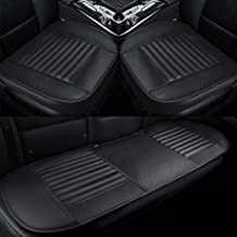 Lucky Monet PU Leather 3D Car Seat Cover Full Surround Front Rear Seat Mat Universal Auto Seat Cushion Protector (Black, 2Pcs Front Seat + 1Pcs Rear Seat)