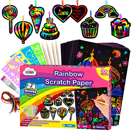 ZMLM Scratch Paper Art-Craft Girl: Rainbow Scratch Magic Drawing Set Paper Pad...