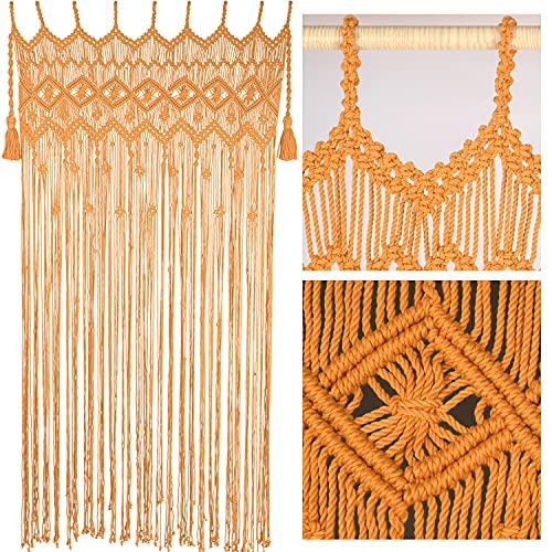 "Macrame Curtains for Doorways, Macrame Curtains for Window, Macrame Door Curtains Boho Wedding Decor, Macrame Wedding Backdrop, Macrame Decor, Door Curtain for Doorways, 77"" x 37"", Goldenrod"