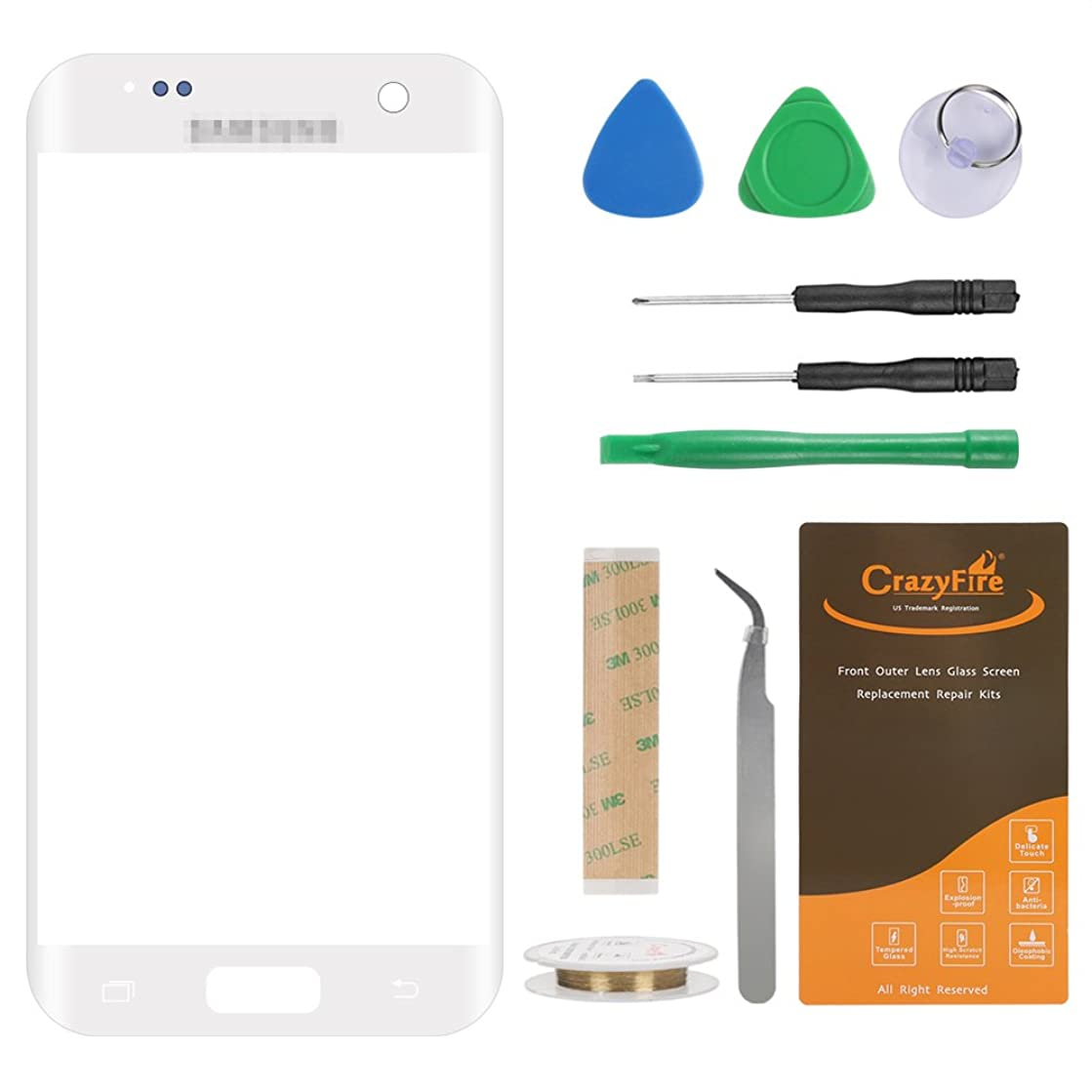 CrazyFire Compatible with Samsung Galaxy S7 White Front Outer Lens Glass Screen Replacement,Screen Glass Lens Repair Replacement for S7 G930