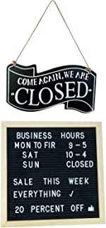 Best Business Sign Kits Wooden Double Sided Open and Closed and Changeable Letter Board for Customizable Business Hours and Messages, Includes Characters and Suction Cups Review