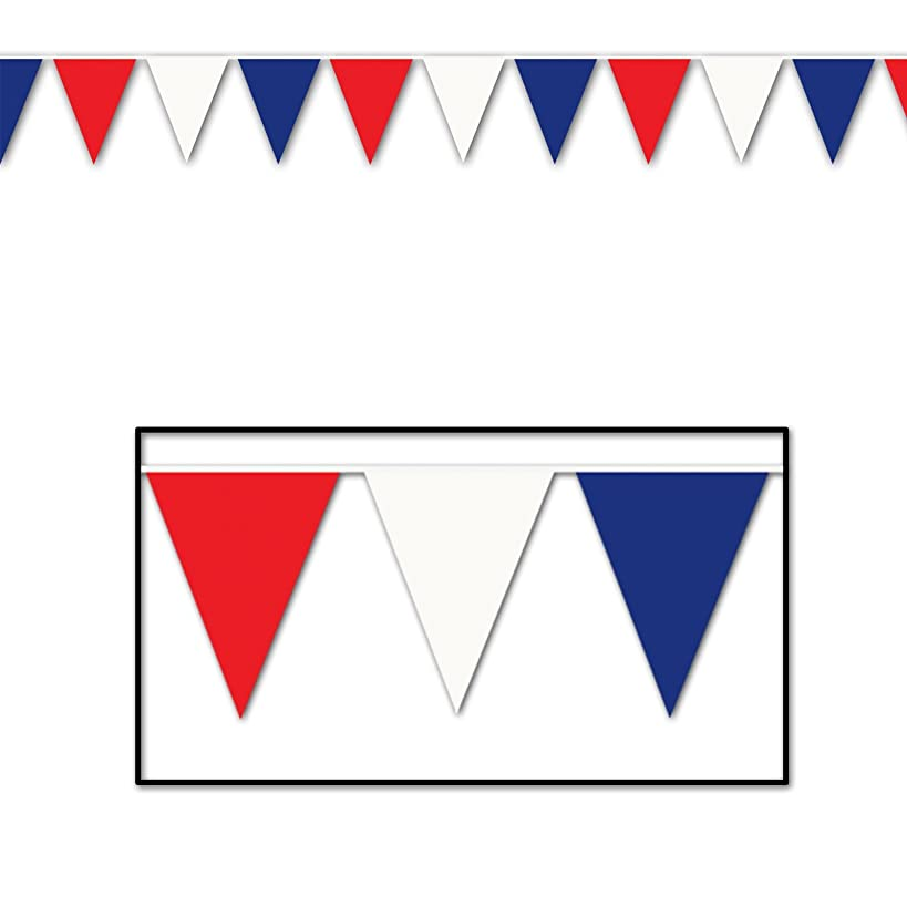 Beistle 50700-RWB Red Blue Outdoor Pennant Banner, 17 by 120-Feet
