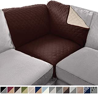 Sofa Shield Original Patent Pending Sectional Corner, 30 x 30 Inch Slipcover, 2 Inch Strap Hook, Washable Furniture Protector, Slip Cover for Dogs, Kids Pets, Sectional Corner, Chocolate Beige