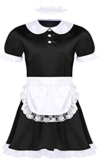 FEESHOW Mens Sissy Shiny Satin Flutter French Maid Uniform Dress Crossdressing Lingerie Sets
