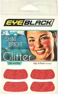 EyeBlack Red Softball Glitter Eye Black Strips, 2 Pair