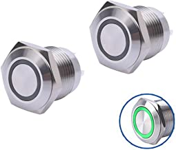 WerFamily 16mm Green LED Ring Momentary Push Button Switches 1NO SPST Round Stainless Steel Metal Shell with Resistor 12V ...