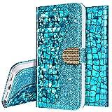 Surakey Cover per iPhone XR,Custodia Flip a Libro Portafoglio in PU Pelle Glitter Brillantini Strass Case Funzione Supporto con Porta Carte Antiurto TPU Bumper per iPhone XR,Blu