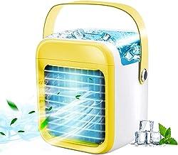 Voortreffelijk Draagbare Airconditioner Ventilator, Gele Conditioner Coolerfan met 3 snelheden 7 Kleuren LED Licht Silent ...