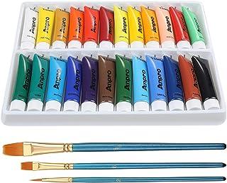 Anpro 24 Tubes Peinture Acrylique 15 ML 3PCS Pinceau de Peinture à l'huile Peinture Acrylique pour Papier,Toile,Bois,Céram...