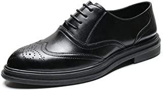 Xiang Ye Perforated Oxford for Men Brogue Dress Shoes Lace up Genuine Leather Block Heel Pointed Toe Rubber Sole Burnished Style Platform (Color : Black, Size : 8.5 UK)