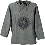 Guru-Shop Yoga Hemd, Goa Hemd Om, Sweatshirt, Herren, Grau, Baumwolle, Size:M, Hemden Alternative Bekleidung