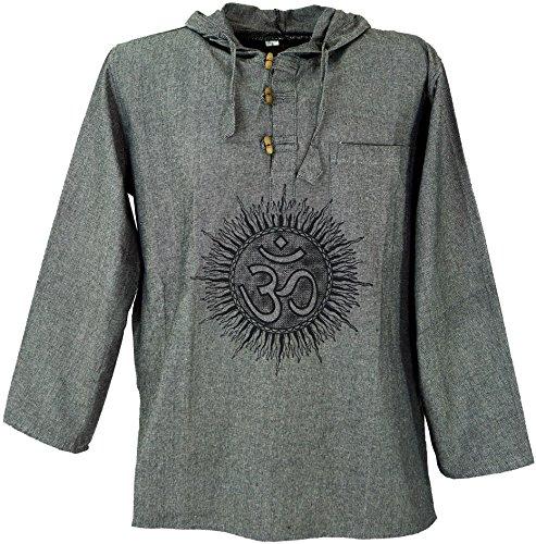 GURU-SHOP, Camicia Yoga, Goa Camicia Om, Felpa, Grigio, Cotone, Dimensione Indumenti:M, Camicie da Uomo