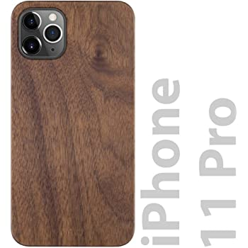 iATO iPhone 11 Pro Case Wood. Unique & Classy Real Natural Walnut Wood iPhone 11 Pro Case {Fully Protective Shockproof TPU Black Bumper with Raised Lip Bezel} iPhone 11 Pro Wood Case