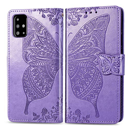 Leather Wallet Case for Galaxy A51 Wallet Case With Card Holder Side Pocket Kickstand, Magnetic Closure Case Cover for Samsung Galaxy A51 - XISHD020229 Lilac