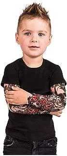 Kids Tattoo Printed Sleeve Tee,Toddler Baby Boys T-Shirt with Mesh Tattoo Printed Sleeve Tee Tops 1-6Y