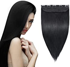 YAMEL Clip in Hair Extensions Human Hair 3/4 Full Head 1 Piece 5 Clips Natural Long Straight Hairpiece for Women 16 Inch Jet Black