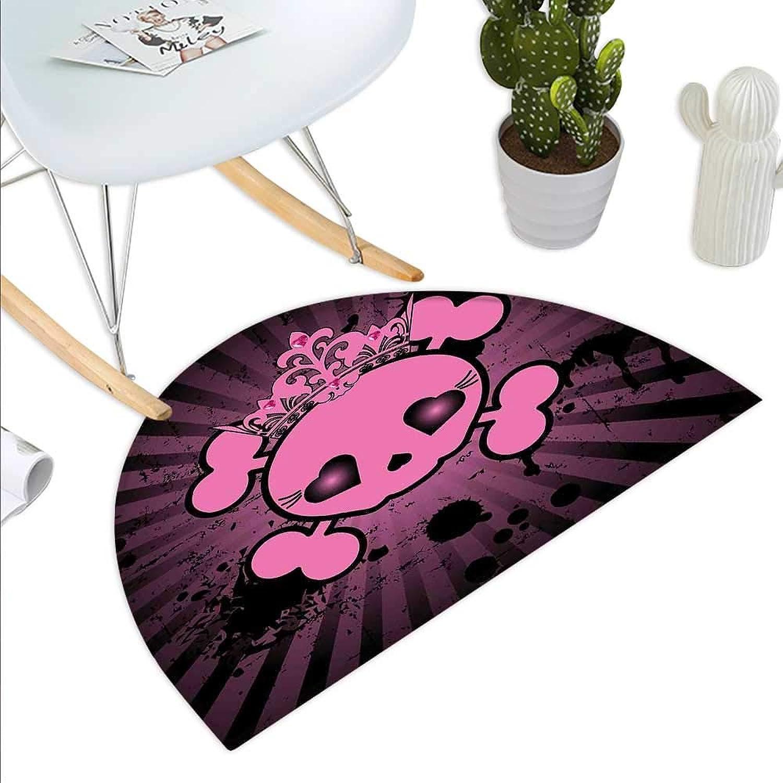 Skull Semicircle Doormat Cute Skull Illustration with Crown Dark Grunge Style Teen Spooky Halloween Print Halfmoon doormats H 43.3  xD 64.9  Pink Black