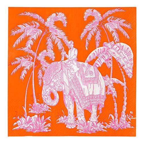 Talking Tables Inspired by India Lot de 20 serviettes en papier Motif éléphant 33 cm