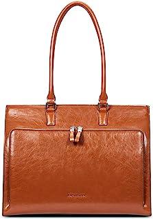 BOSTANTEN Leder Aktentaschen Damen 15.6 Zoll Laptoptaschen Frauen Businesstasche Schultertasche mit Top Handle Braun