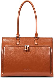 "BOSTANTEN Women Leather Briefcase Vintage Shoulder 15.6"" Laptop Tote Handbags Brown"