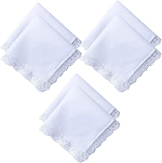 6/12/18/25 Pack of Ladies White Perfect Wedding Lace Cotton Handkerchiefs