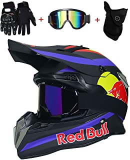 OUTLL Motocross Helm Set, mit Brille/Maske/Handschuhe, Erwachsene Offroad Motorrad MTB BMX Enduro Helm Bergab Quad Fahrrad Absturz Helm, DOT Zertifizierung