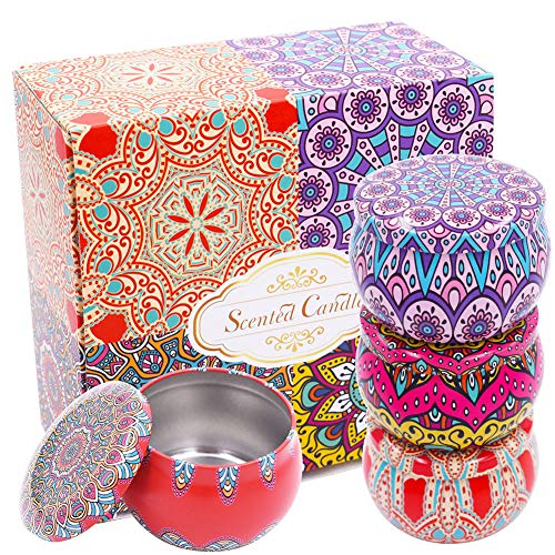 INTVN 4 stücke Mini Metall Leere dosen runde blechdose Vintage weißblech Container für Tee süßigkeiten DIY Kerze Hochzeit Weihnachten Party Favor Geschenke