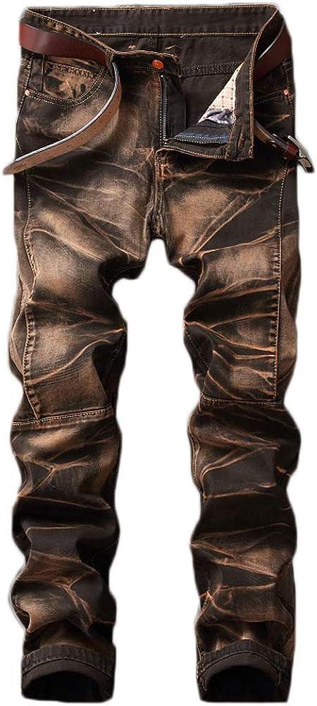 Go Mai Men's Jeans Slim Straight Stretch Pants Fashion Retro Style Trousers