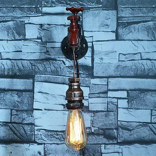 FACAZ Lámparas de Pared industriales Vintage Aplique de Pared Dormitorio Mesita de Noche Pasillo Bar Café Escalera Tuberías de Agua de Hierro Forjado Lámpara de Pared E27 * 1 Decoración Grifo Rojo