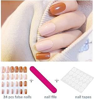 editTime 24PCS Colorful Acrylic False Nails Full Cover Short Square Press on Fake Nails Art Gel Tips Manicure Nails Sets (orange)
