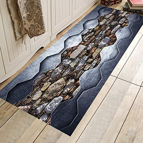 HLXX 3D Scenic Printed Küchenteppiche Anti-Rutsch-Matte für Bodentürmatten Flur Küchenteppiche rutschfeste Schlafzimmermatte A21 60x180cm