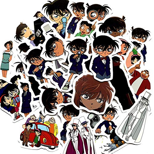 RSZHHL Sticker de Carro 33 Piezas de Dibujos Animados Detective Conan Pegatinas para monopatín Maleta Equipaje portátil Nevera teléfono Estilo DIY Pegatina