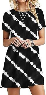 OMZIN - Vestido de mujer de manga corta, informal, de corte redondo, en tallas grandes, de 2XS a 5XL Yh-negro. XL