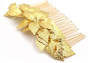 Handmadejewelrylady - Accesorio para el pelo para novia, diseño vintage, con peineta, con hojas doradas