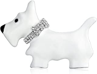 Bling Jewelry Large White Westie Scottie Terri Dog Pet Animal Brooch Pin for Women Crystal Collar Silver Tone Rhodium Plated 1.3 Inch