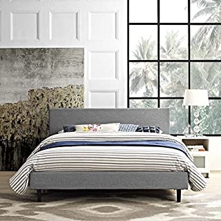 Modway Anya Upholstered Light Gray Full Platform Bed with Wood Slat Support