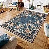 Taleta Kiana - Alfombra de estilo oriental para salón, color azul marino y rosa, tamaño: 160 x 230 cm