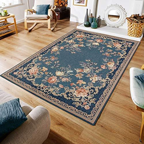 Taleta Kiana Teppich Blumen Orientalisch Wohnzimmer Marineblau Rosa Größe:160 x 230 cm