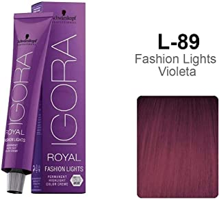Schwarzkopf Professional Igora Royal Fashion Lights Hair Color, L-89, Red Violet, 2.1 Ounce