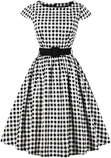 Elegante Vintage Lady Dress, Rundkragen Plaid Cap Sleeve Party Swing Kleid mit Bund
