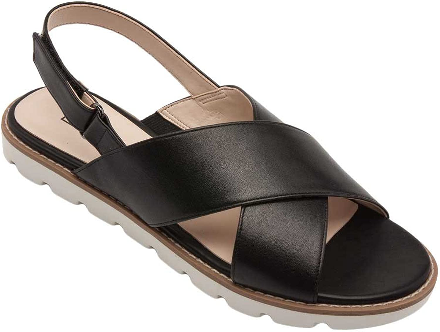 Pic Pay Cayden Women's Sandals - Leather Slingback Flat Sandal Black Leather 6M