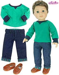 Sophia's 18 Inch Boy-Doll-Outfit Only 3 Pc. Green Shirt, Brown Penny Loafers, Flannel Cuffed Jeans Outfit Only for Boy Dolls. Perfect for American Dolls and More!