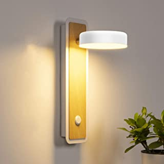 LEDMO 12 W Lampara de Pared LED de Moderno 3000K-6000K regulable, Aplique Pared Interior Grano de madera retro moderna