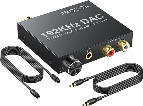 PROZOR 192KHz Digital to Analog Audio Converter - Upgrade Volume Adjustable Optical to RCA Converter with Optical & U...