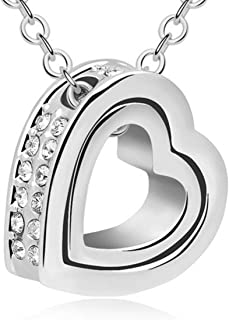 Peora Silver Rhodium Crystal Double Love Heart Shape Pendant Necklace for Women Girls