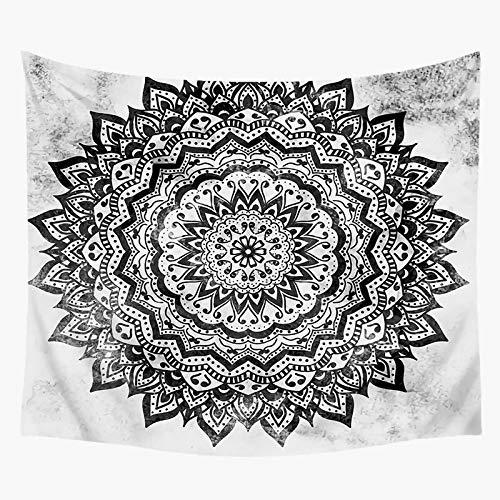 KHKJ Tapiz de Mandala en Blanco y Negro India Yoga Colgante de Pared Bohemio Evile Eys Tapices Tapiz Hippie Alfombra de Pared de Mano A4 150x130cm