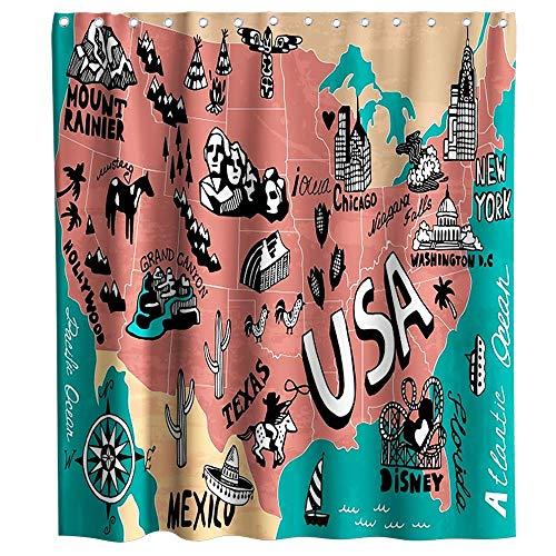 LRSJD Landkarte der Vereinigten Staaten Duschvorhang Cartoon Fun Fakten Geographie USA Karte Thema Stoff Kinder Badezimmer Dekor Sets mit Haken 182,9 x 182,9 cm Türkis Rot & Schwarz