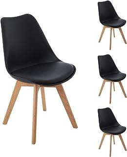 DORAFAIR Pack 4 sillas escandinava Estilo nórdico Silla de Comedor, con Las piernas de Madera de Roble Maciza y cojín cómoda,Negro