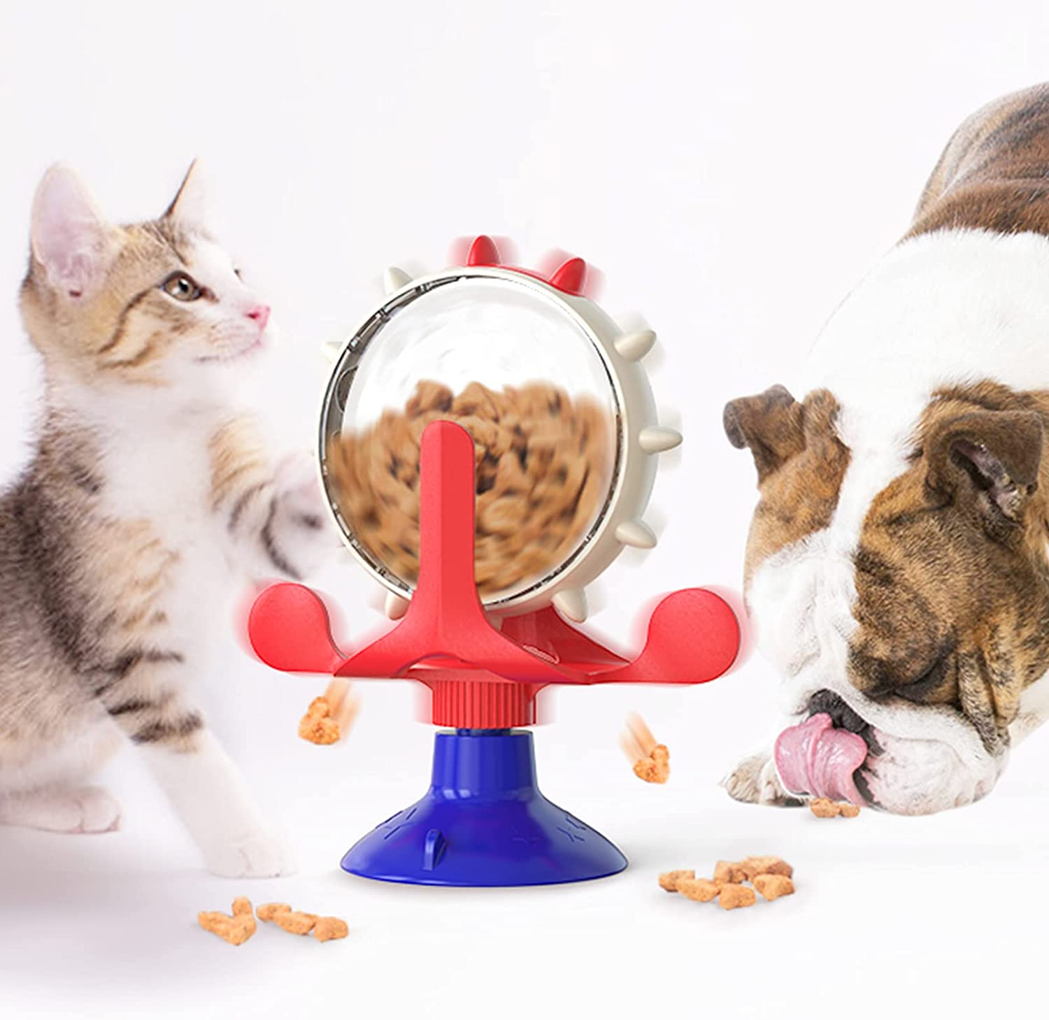 XIAOGO Cat Toys Cats Supplies Kitten Toy Interactive Slow Feeder with Suction Cup Portable Whirling Food Dispenser Funny Puzzle Kitty for Indoor Cats Improve IQ